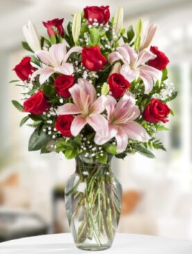 Beautiful Roses and Lilies (Red Roses)