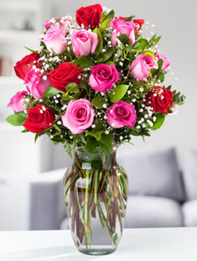 Beautiful Two Dozen Pink and Red Roses