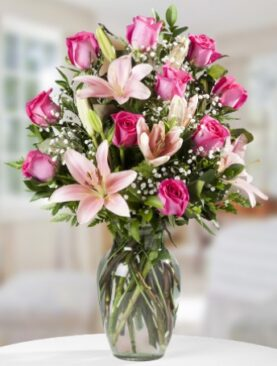 Beautiful Roses and Lilies (Pink Roses)