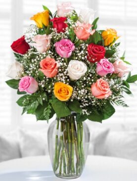 Beautiful Eighteen Mixed Roses