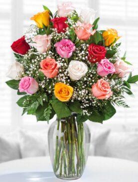 Beautiful Eighteen Mixed Roses