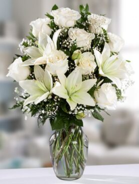 Beautiful White Roses and Lilies