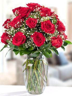 Beautiful Eighteen Red Roses