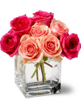Bunch of Pink & Red Roses in a Glass Vase